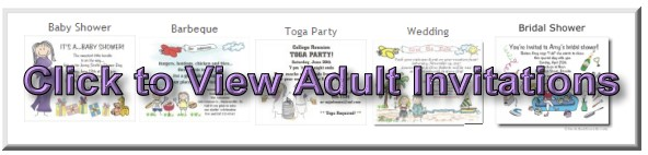 Click to View All Our Adult Party Theme Invitations