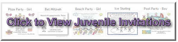 Click to View All Our Child Party Theme Invitations